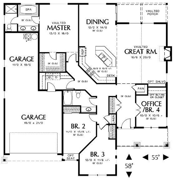 3 Bedroom 2 Bath One Story Floor Plans