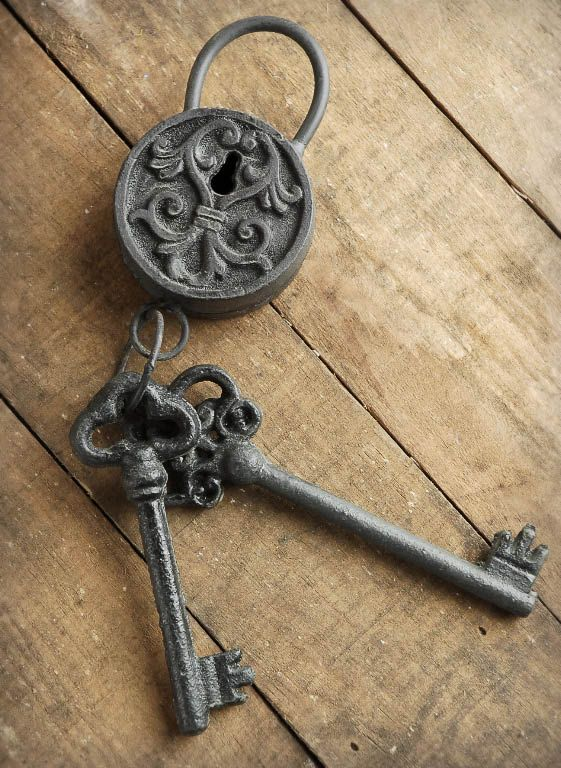 Decorative metal lock and keys the linwood project for Door key design