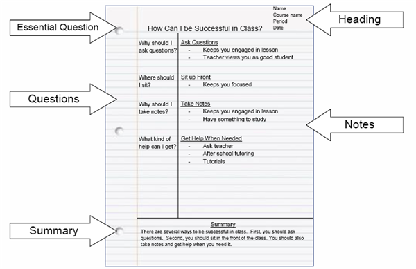 Cornell Notes Example  Avid    Cornell Notes