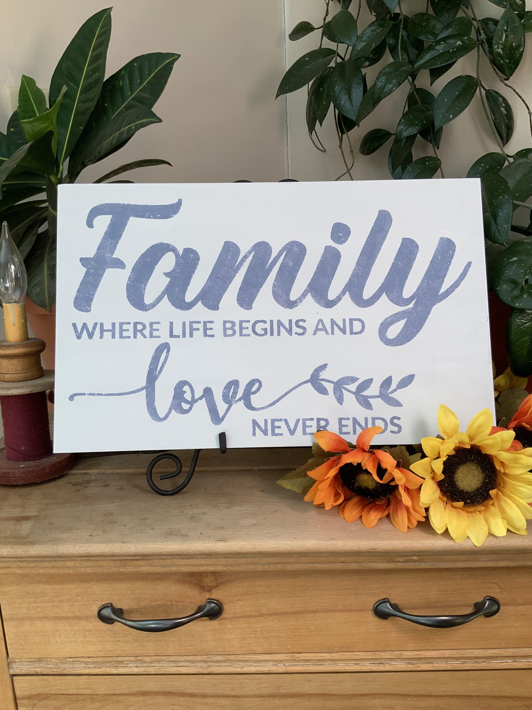 Farmhouse Painted Family Where Life Begins And Love Never Ends Rustic Wood Sign