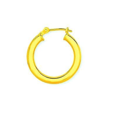 f2f3f28db 14K Solid Gold Men's Single Tubular Hoop Earring Unisex Huggy 16mm Unisex