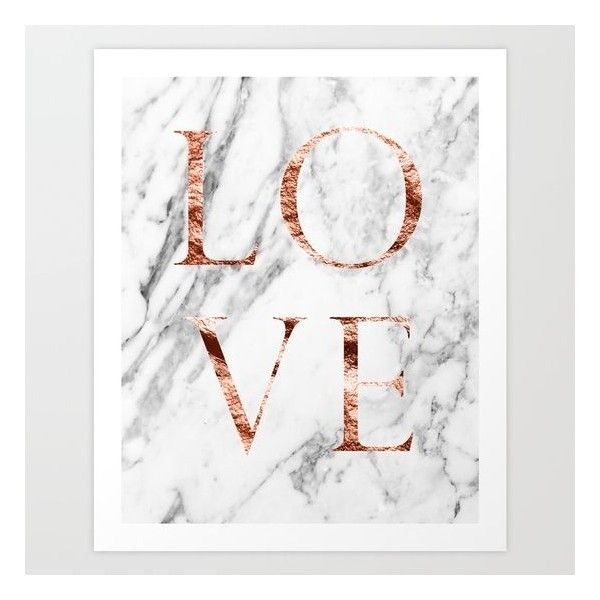 Rose gold marble love art print 20 aud liked on polyvore for Room decor marble