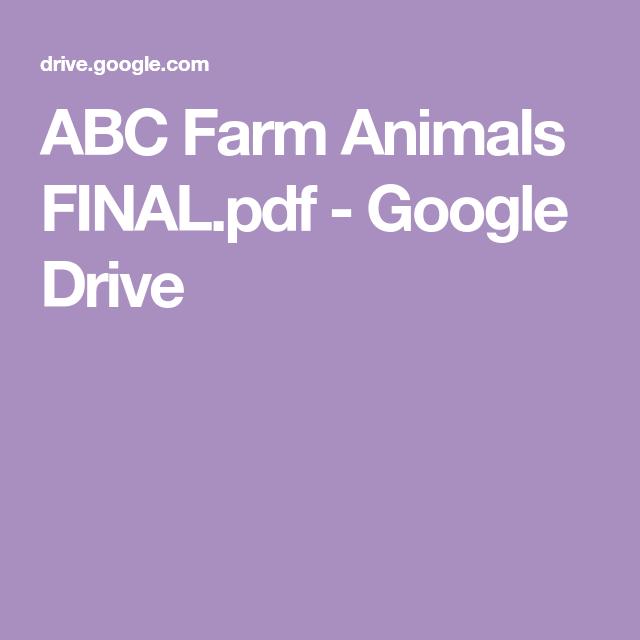 Abc Farm Animals Final Pdf Google Drive Farm Animals