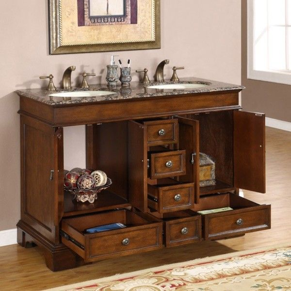 Silkroad Exclusive Mesa 48 Inch Double Sink Bathroom Vanity Home