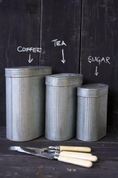 Set of 3 Oval Metal Storage Tins