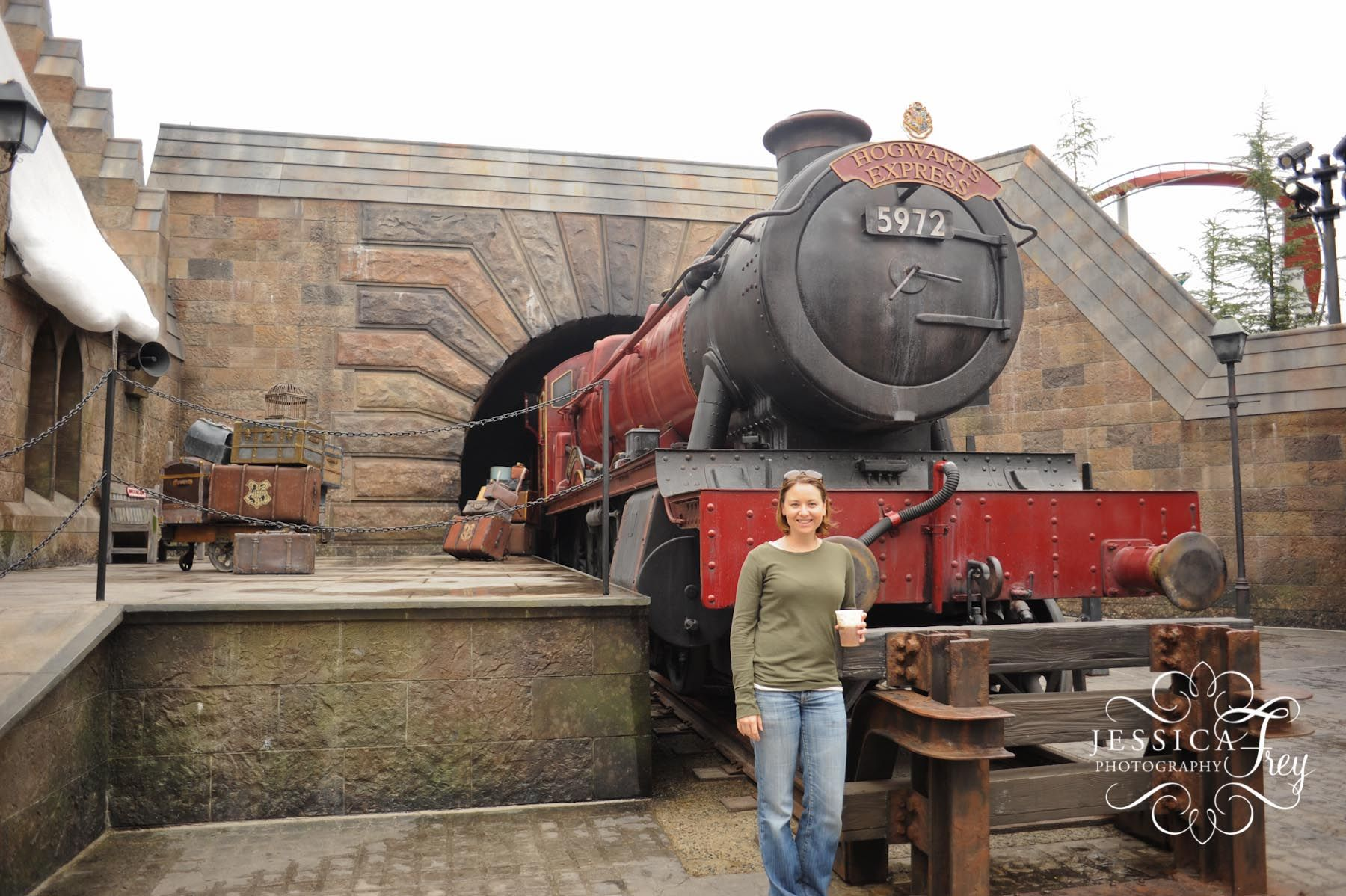 The Hogwarts express about to leave the station at The Wizarding World of Harry Potter. Photograph by Jessica Frey.