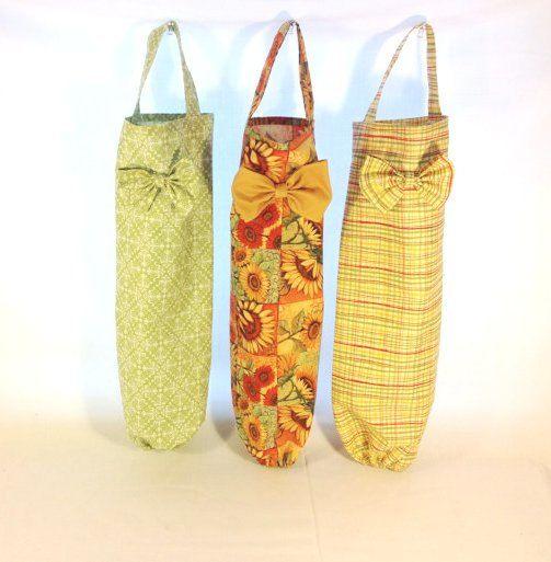 Plastic Bag Holder With A Bow Cottage Sunflower Vintage Etsy Plastic Bag Holders Bag Holder Plastic Bag