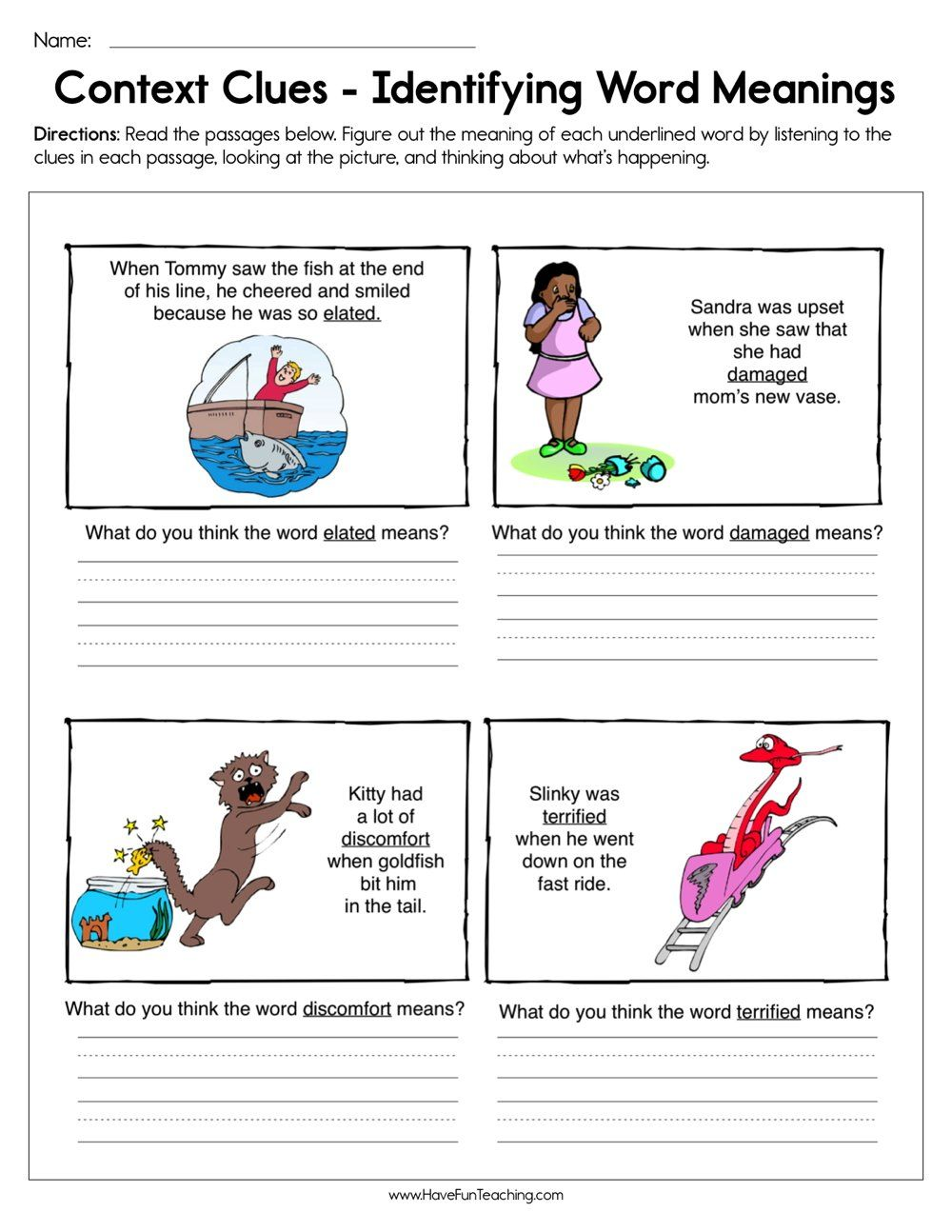 Context Clues Identifying Word Meaning Worksheet   Context clues worksheets [ 1294 x 1000 Pixel ]