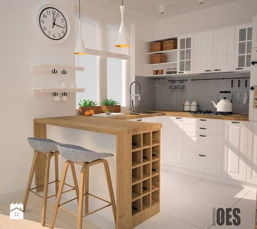 Aranżacje wnętrz - Kuchnia: Mała kuchnia, styl skandynawski - OES architekci. Przeglądaj, dodawaj i zapisuj najlepsze zdjęcia, pomysły i inspiracje designerskie. W bazie mamy już prawie milion fotografii!
