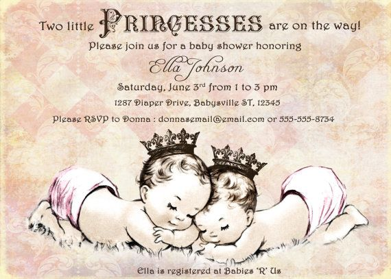 Twins Baby Shower Invitation For Twin Girls Vintage Princess