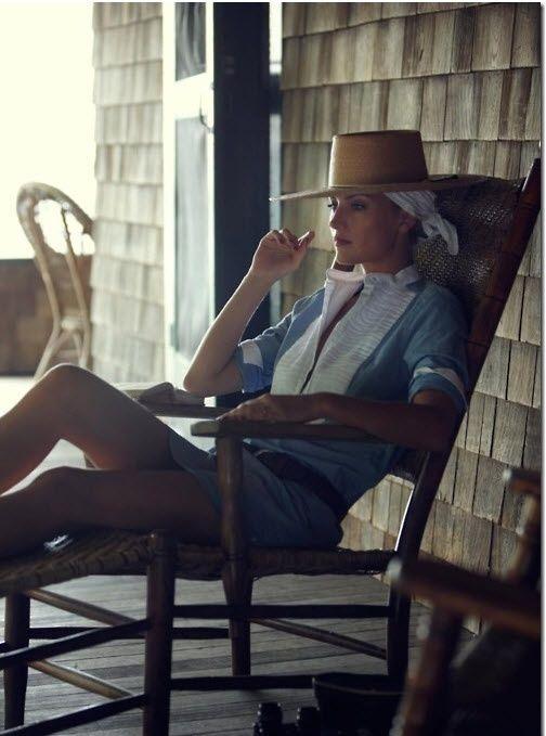 Bandana Under Hat   Blue and white shirt Hat fashion ...