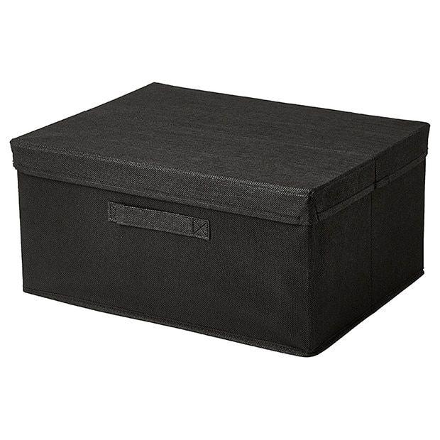 Box · Black Large Fabric Storage Box With Lid ...