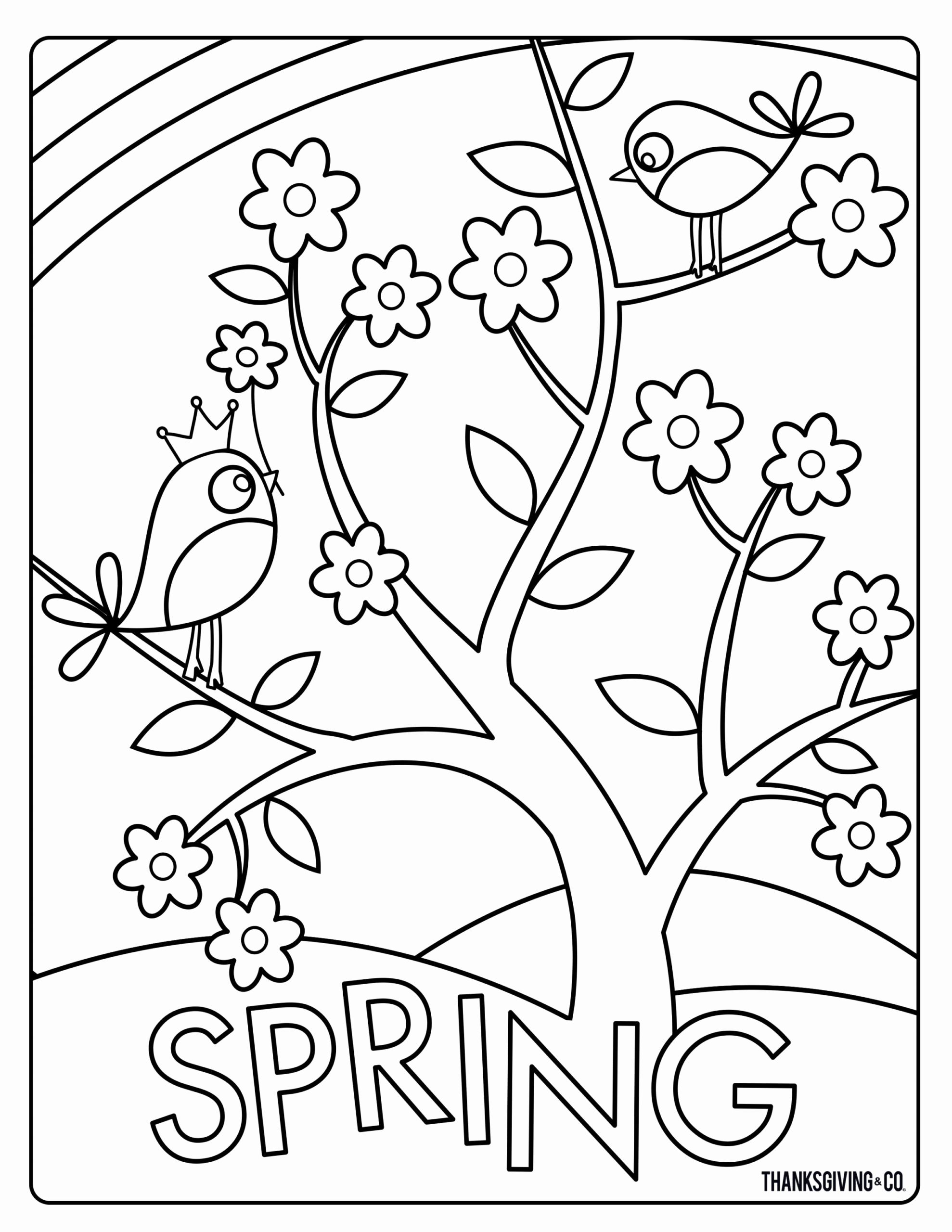 Rain And Flower Coloring Pages For Kids Spring Coloring Sheets Bird Coloring Pages Easter Coloring Pages