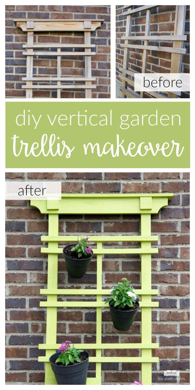 Garden decor trellis  DIY Vertical Garden Trellis Makeover Transform your outdoor patio