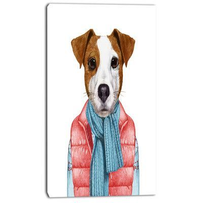 Designart Funny Jack Russell In Formal Suit Graphic Art On Wrapped Canvas Size 32 H X 16 W X 1 D Canvas Set Graphic Art