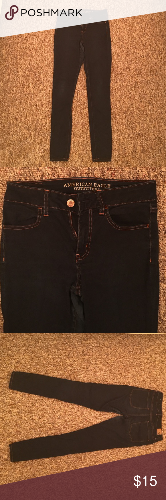 """American Eagle High Rise Jeggings American Eagle dark wash high rise jeggings. Worn but still in good condition. Small imperfection on right knee but not very noticeable. Super stretchy and comfortable! Logo even says """"super super stretch""""! American Eagle Outfitters Jeans Skinny"""