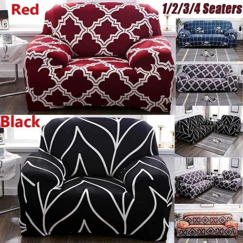 Elastic Slipcover 1 2 3 4 Seater Stretch Sofa Covers Couch Protector Black Red Sofa Slipcover Ideas Of So Modern Sofa Bed Slipcovered Sofa Leather Sofa Bed