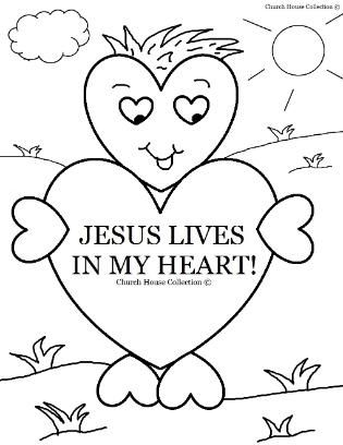 valentines day coloring page for sunday school jesus lives in my heart for childrens church