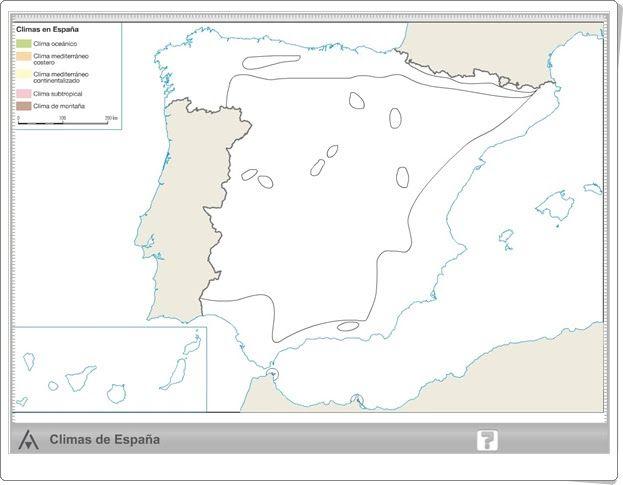 Mapa Climatico De España Mudo.Mapa Interactivo Climatico De Espana De Primaria Editorial