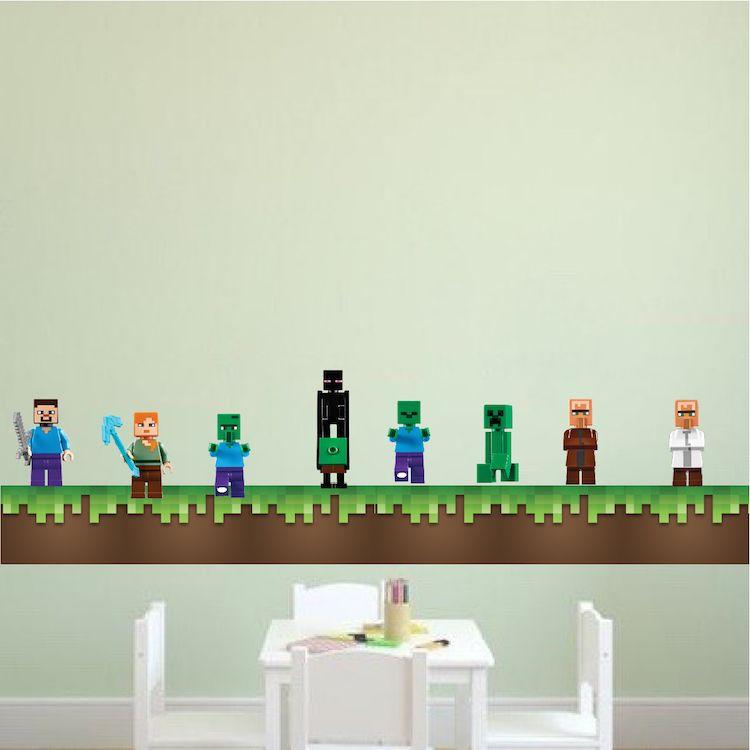 Minecraft Grass Wall Decal Minecraft Decal Video Game Wall - Wall decals grass