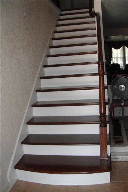 Best Knee Wall Stair Rail Oak Treads Oak Railing Painted 400 x 300