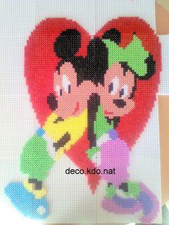 DECO.KDO.NAT: Perles hama: mickey et mini coeur