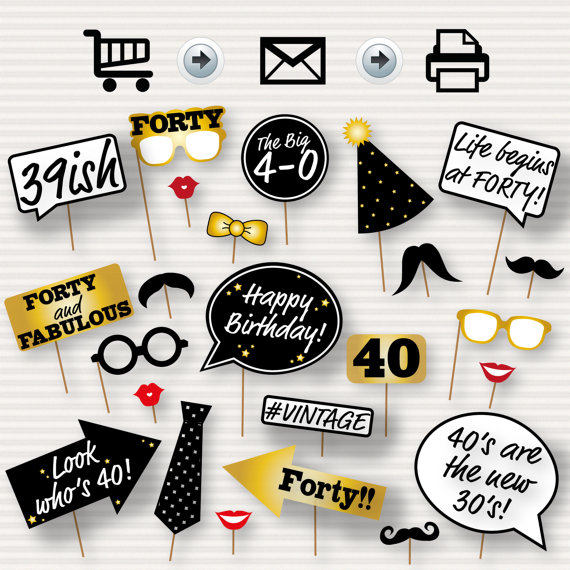 40th Birthday Party Printable Photo Booth Props Glasses Hats