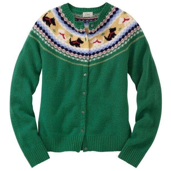 L.L.Bean's green cardigan with scotties ❤ liked on Polyvore featuring tops, cardigans, sweaters, jackets, outerwear, l.l.bean, green top, green cardigan and l.l.bean cardigan