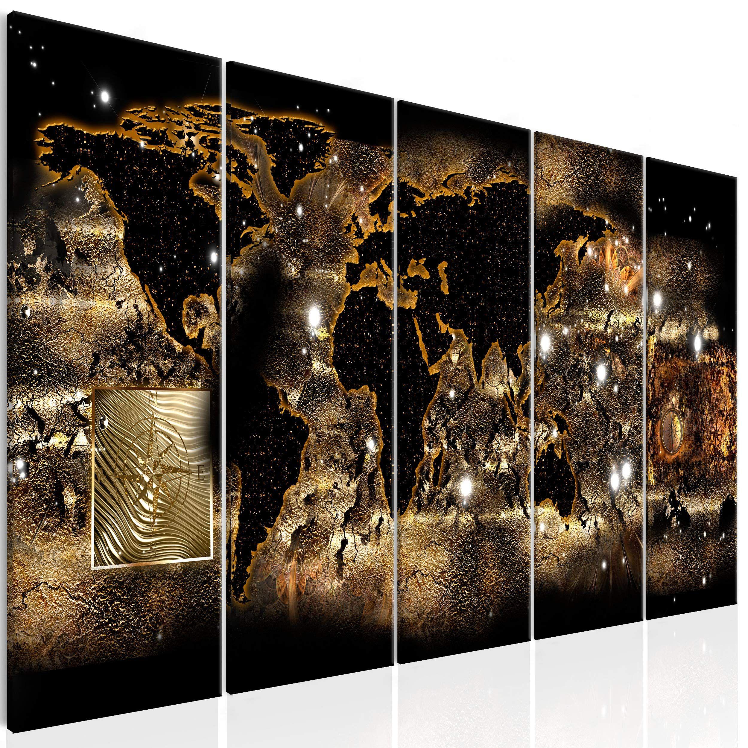 decomonkey bilder weltkarte 100x40 cm xxl 5 teilig leinwandbilder bild auf leinwand vlies wandbild kunstdruck wand in 2021 japanische wanddekoration wohnzimmer ideen