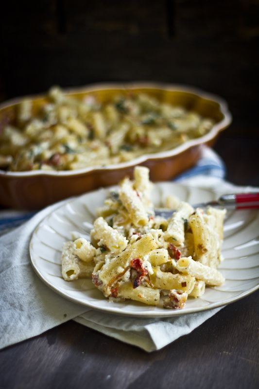Greek Mac and Cheese with Garlic, Feta, and Sun-Dried Tomatoes.