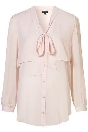 double layer pussybow blouse ++ topshop
