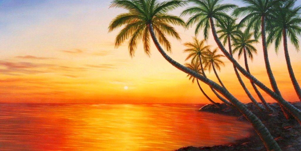 Paisajes Cuadros Atardeceres Playa Con Imagenes Pintura De