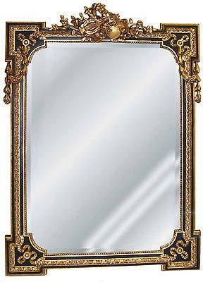 Musical Motif Wall Mirror Antique Reproduction In Gold On Black Color Finish Walls And Woods
