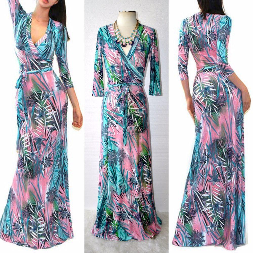 HAUTE GYPSY Pink Tropical Long Sleeve Maxi Wrap Dress V Neck ...