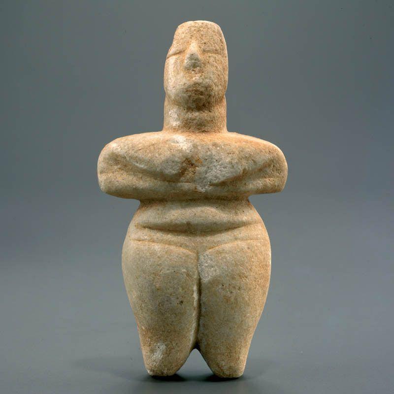 Aegean marble idol of the steatopygic type culture greek