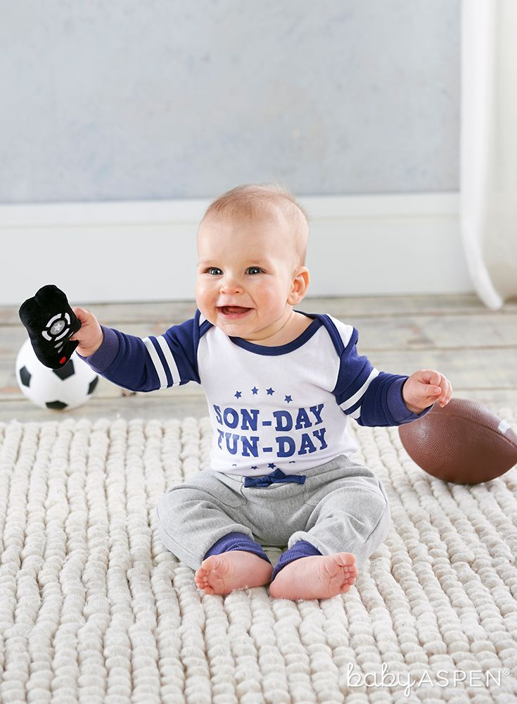 My First Gameday 2 Piece Outfit With Rattle 0 6 Mos Baby Aspen Baby Boy Gifts New Baby Products