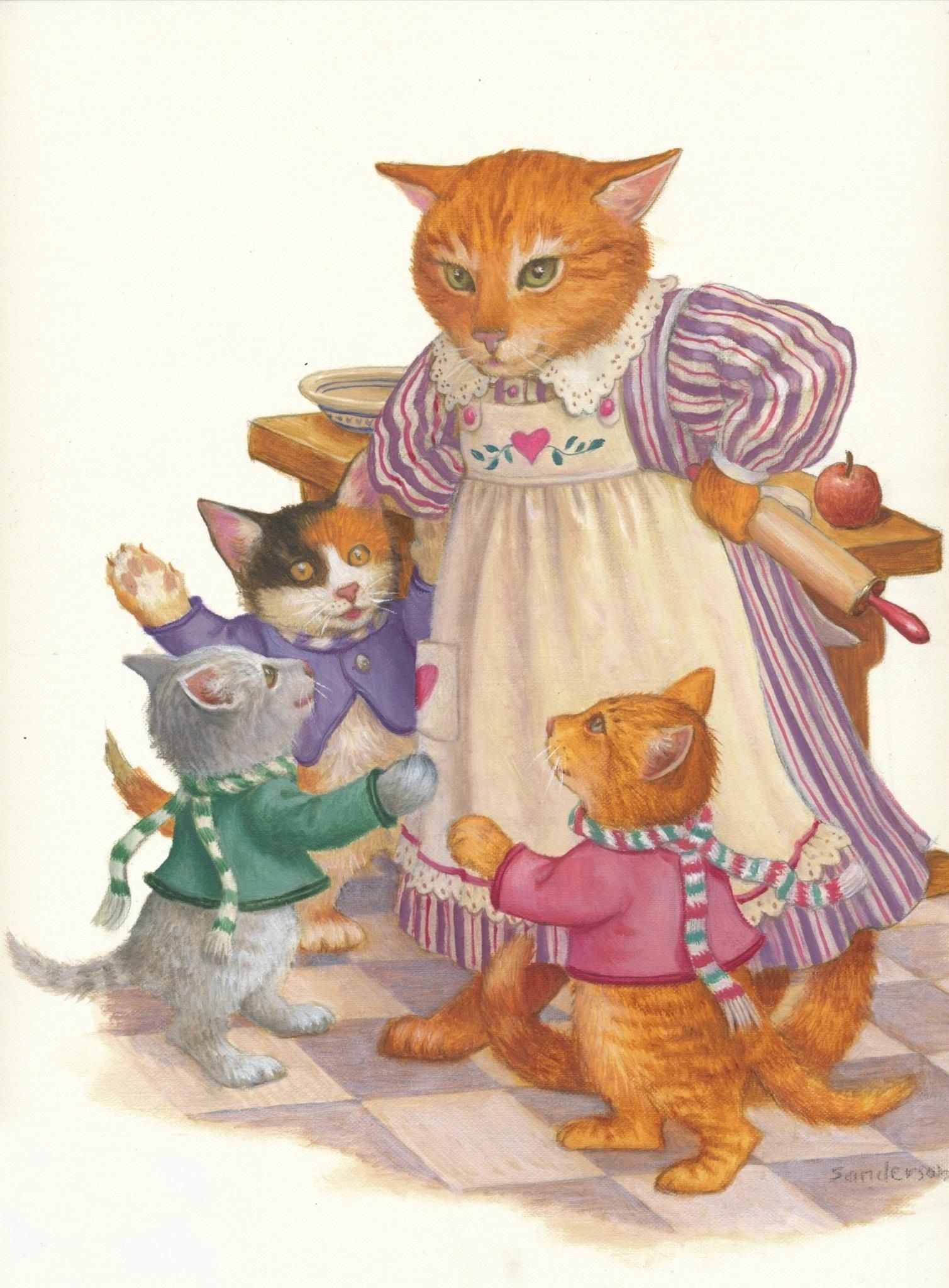 Ruth Sanderson Original Art From The Book Mother Goose From Our Collection Cats Illustration Cat Art Animal Art