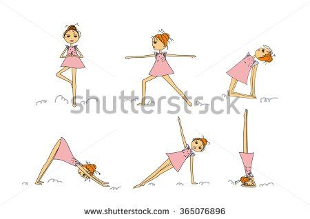 Hand Drawing Cartoon Girl Practicing Yoga Vector Set Of IllustrationHand Draw Sketch With Asana Does Exercises