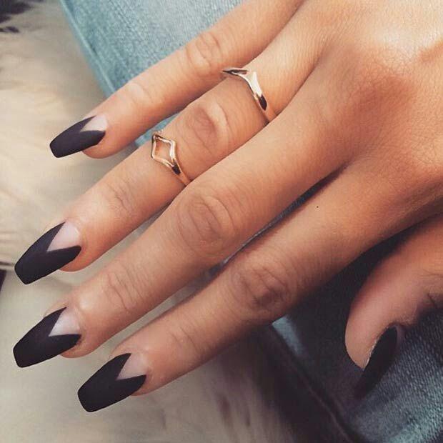 Triangular Moon Negative E Fall Nail Designs Black Pretty