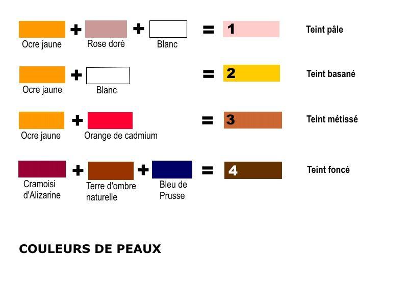 COULEURS de PEAUX | Couleur de peau, Melange couleur peinture, Comment obtenir les couleurs