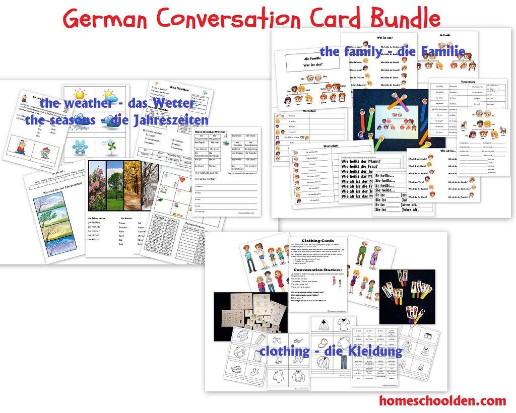 German Conversation Card Bundle Family Weather Seasons