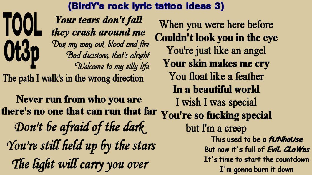 Lyric my rock lyrics : My rock/heavy metal song lyric tattoo ideas, 2- Slipknot, Guns n ...