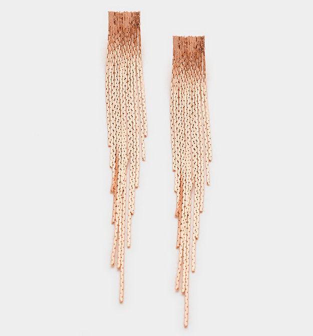 Rose Gold, Gold Or Silver Metal Snake Fringe Earrings #Unbranded #DropDangle