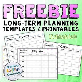 FREE printable planning sheets for teachers! (Great for long-term - free printable templates for teachers