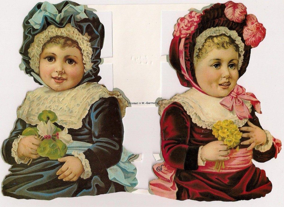 Precious Victorian Girls   EF7100G German Embossed GLITTER Scrap Die Cut