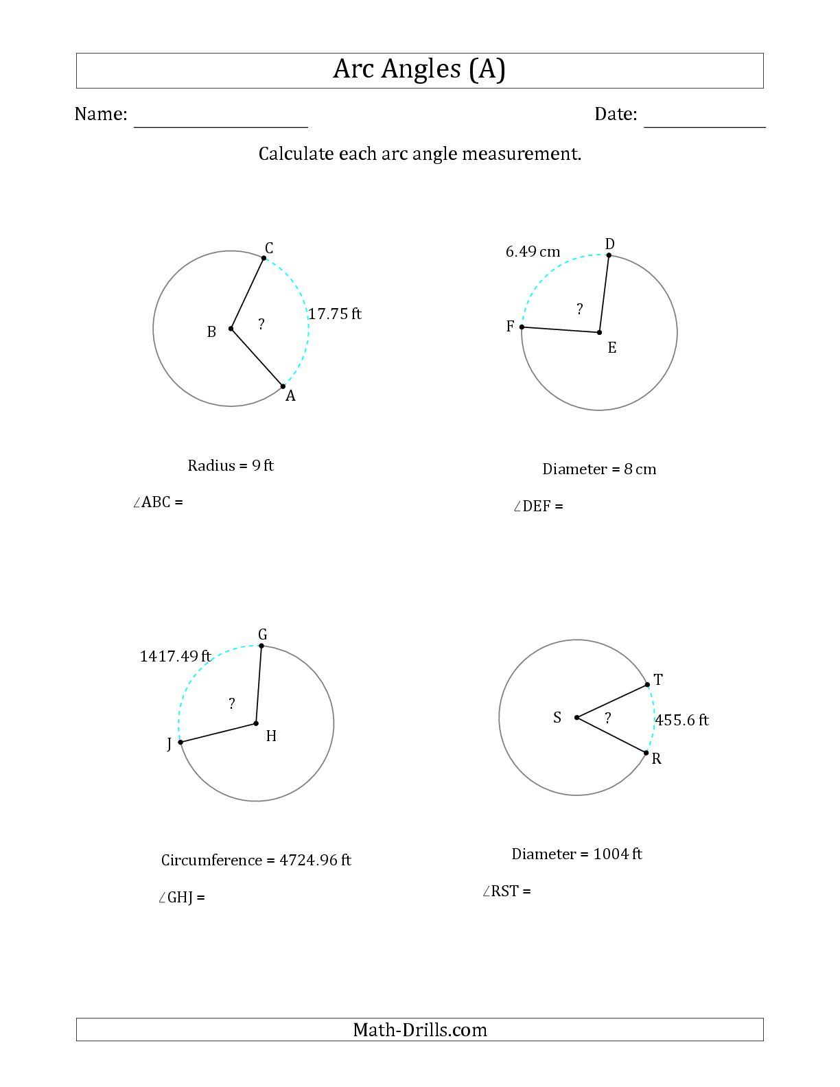 The Calculating Circle Arc Angle Measurements From Circumference Radius Or Diameter A Math