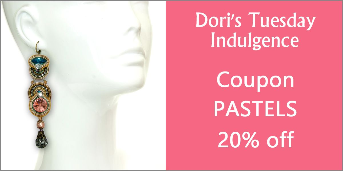 Start a new Tuesday tradition with Dori's Tuesday coupon indulgence!  #doricsengeri #pastels #couturejewelry #crystalearrings #designerjewelry