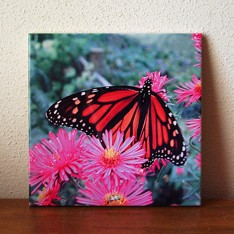 Monarch butterfly ceramic tile, floral trivet, flower