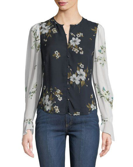 92f4e9835ddd23 Joie Abboid Floral Silk Long-Sleeve Top in 2019   Products I Love ...