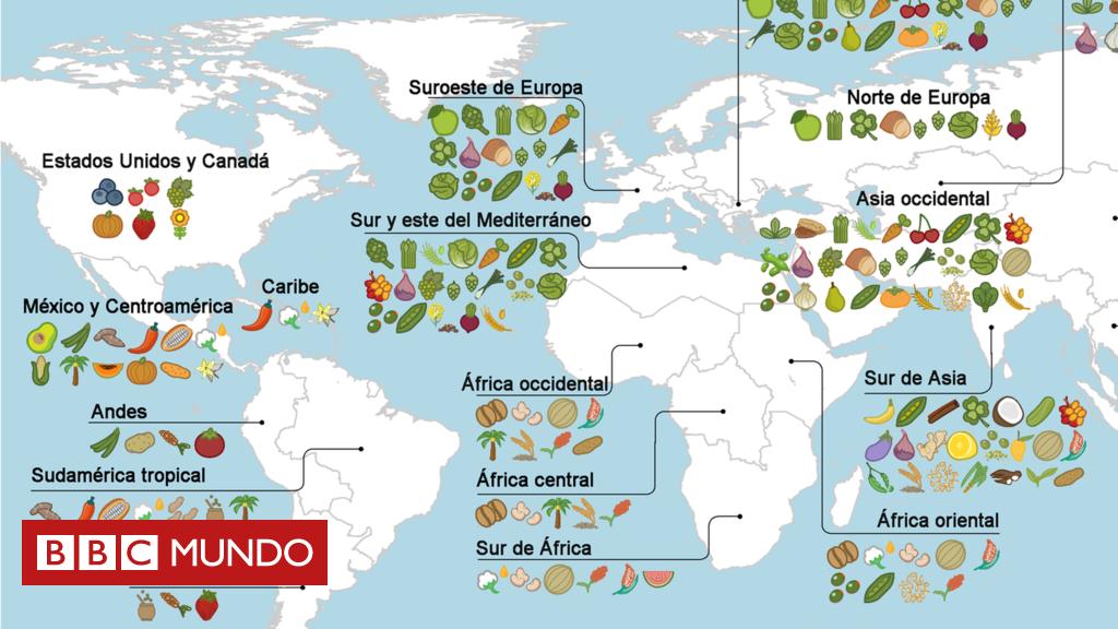 El mapa que muestra el origen de los alimentos que comemos